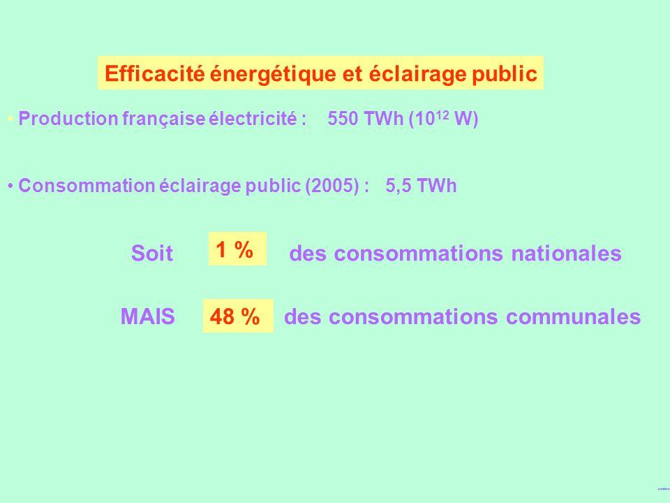Efficacité énergétique et éclairage public Production française électricité : 550 TWh (10 12 W) Consommation éclairage public (2005) : 5,5 TWh 1 % MAI