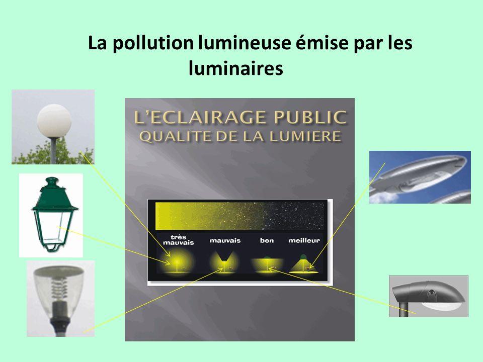 La pollution lumineuse émise par les luminaires