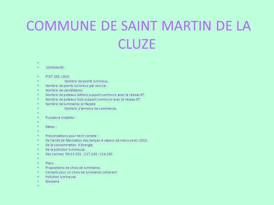 COMMUNE DE SAINT MARTIN DE LA CLUZE SOMMAIRE : ETAT DES LIEUX Nombre de points lumineux. Nombre de points lumineux par source. Nombre de candélabres.