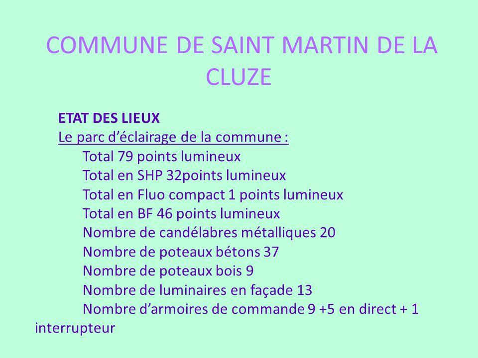 COMMUNE DE SAINT MARTIN DE LA CLUZE ETAT DES LIEUX Le parc déclairage de la commune : Total 79 points lumineux Total en SHP 32points lumineux Total en