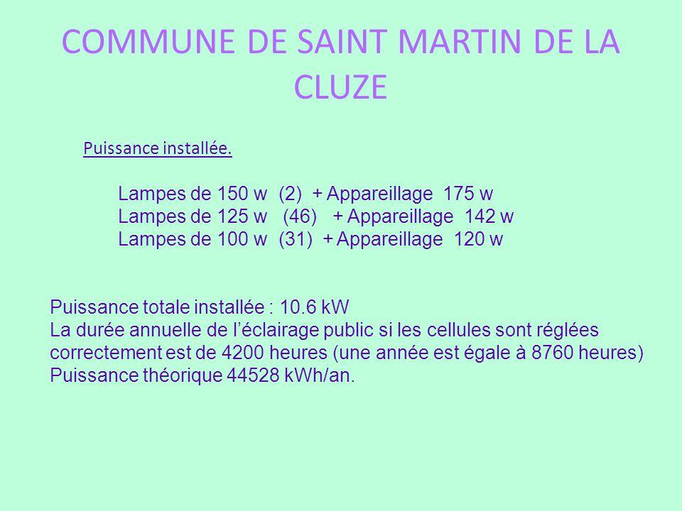 COMMUNE DE SAINT MARTIN DE LA CLUZE Puissance installée. Lampes de 150 w (2) + Appareillage 175 w Lampes de 125 w (46) + Appareillage 142 w Lampes de