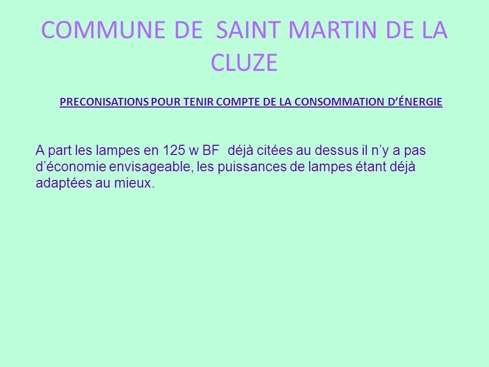 COMMUNE DE SAINT MARTIN DE LA CLUZE PRECONISATIONS POUR TENIR COMPTE DE LA CONSOMMATION DÉNERGIE A part les lampes en 125 w BF déjà citées au dessus i