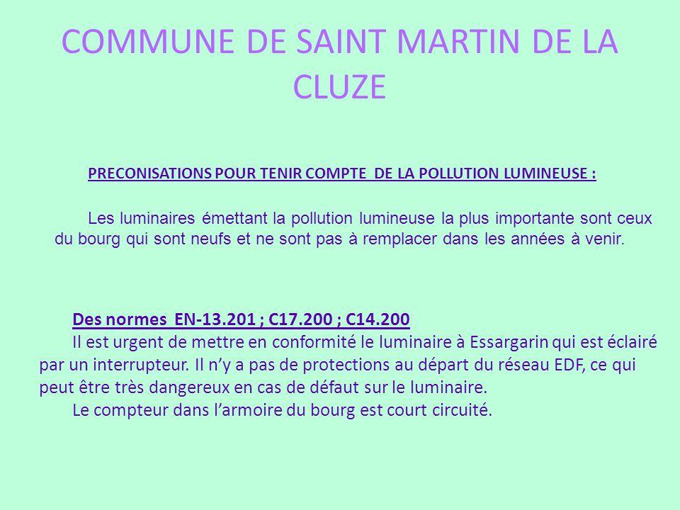 COMMUNE DE SAINT MARTIN DE LA CLUZE PRECONISATIONS POUR TENIR COMPTE DE LA POLLUTION LUMINEUSE : Les luminaires émettant la pollution lumineuse la plu