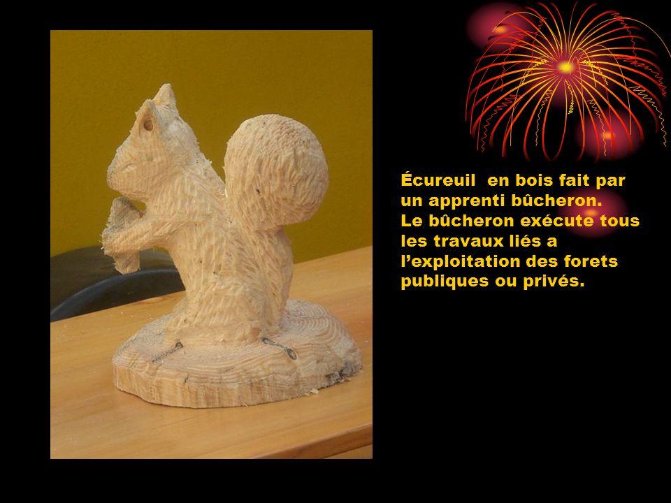 Écureuil en bois fait par un apprenti bûcheron. Le bûcheron exécute tous les travaux liés a lexploitation des forets publiques ou privés.