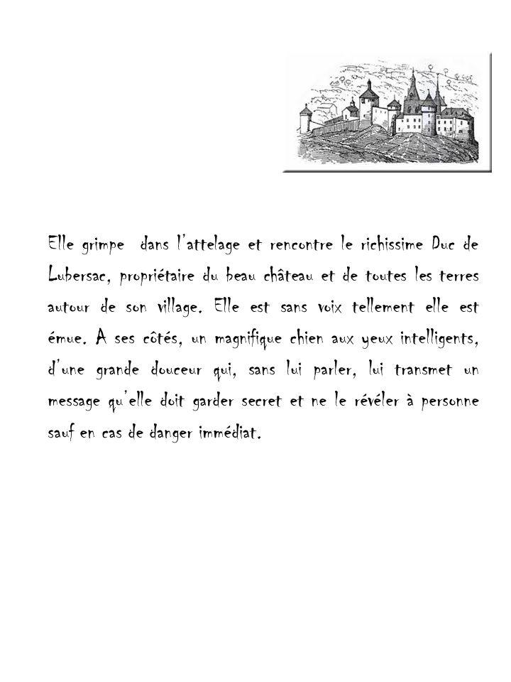 Elle grimpe dans lattelage et rencontre le richissime Duc de Lubersac, propriétaire du beau château et de toutes les terres autour de son village.