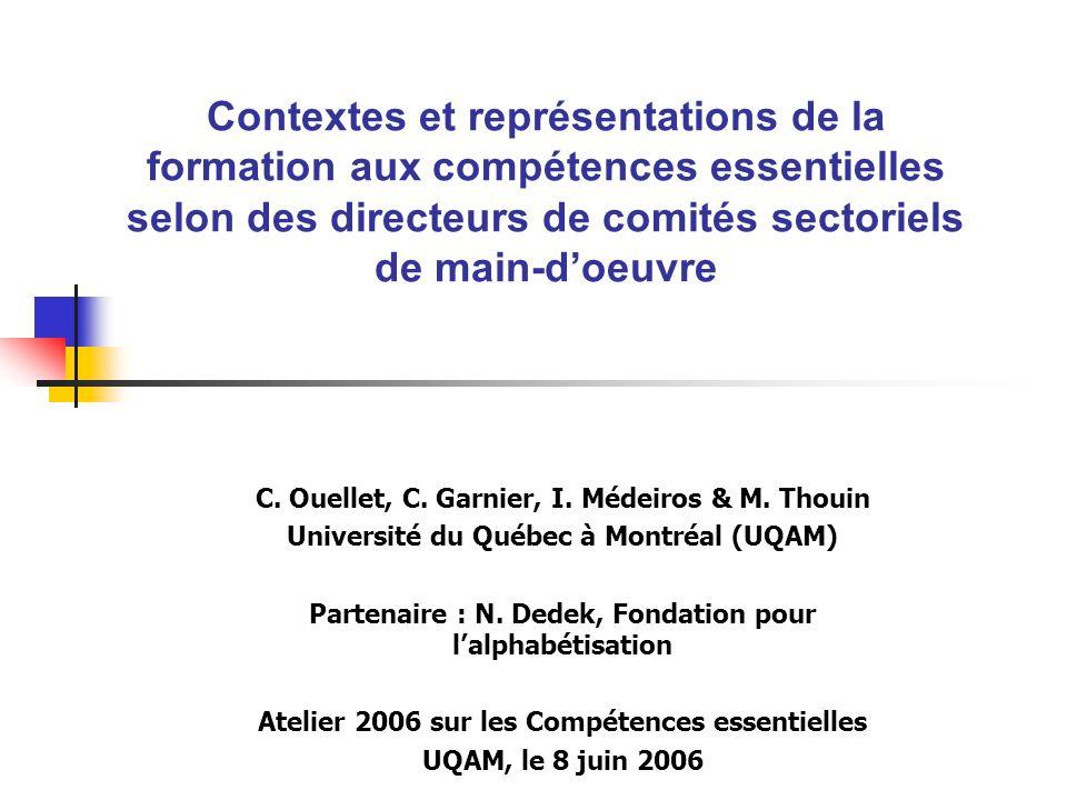 Atelier 2006 sur les compétences essentielles le 8 juin 2006 Sur les contextes (suite) Pour les secteurs qui considèrent la formation aux C.E.