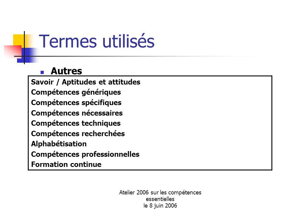 Atelier 2006 sur les compétences essentielles le 8 juin 2006 Termes utilisés Autres Savoir / Aptitudes et attitudes Compétences génériques Compétences