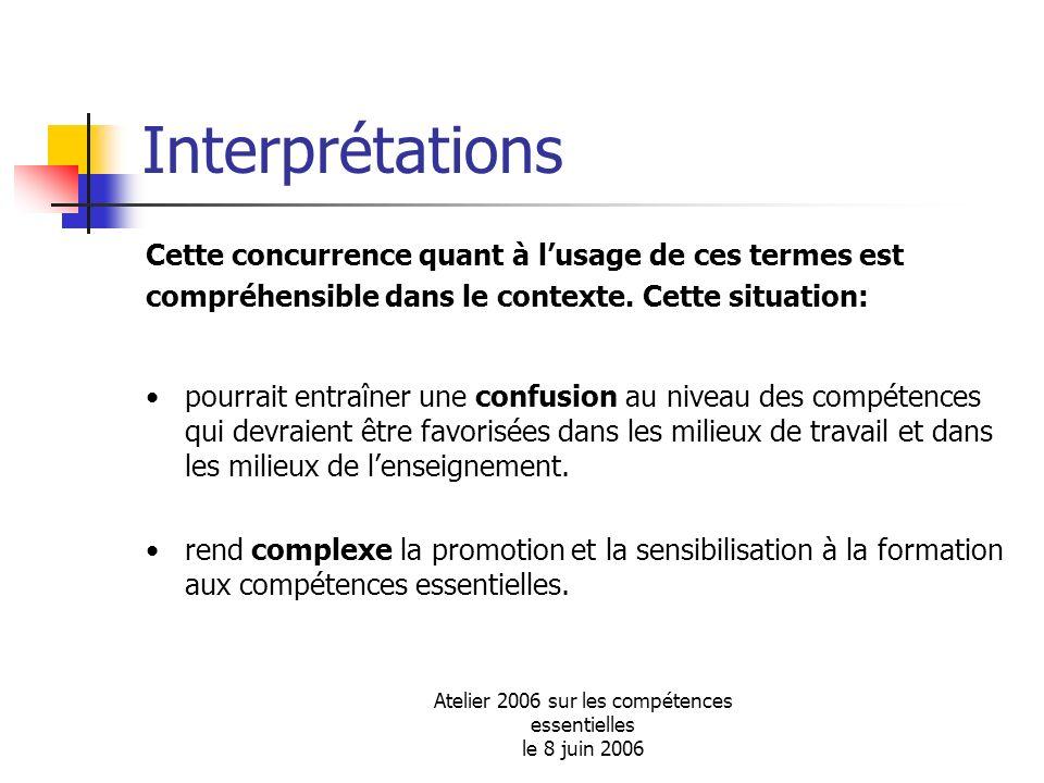 Atelier 2006 sur les compétences essentielles le 8 juin 2006 Interprétations Cette concurrence quant à lusage de ces termes est compréhensible dans le