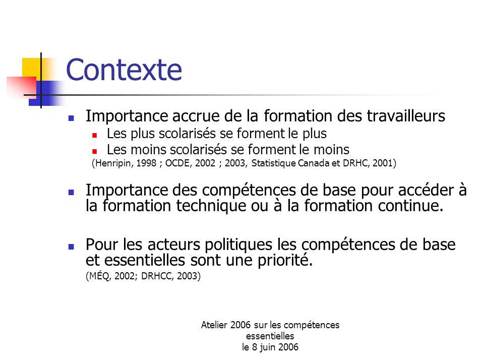 Atelier 2006 sur les compétences essentielles le 8 juin 2006 Contexte Importance accrue de la formation des travailleurs Les plus scolarisés se formen
