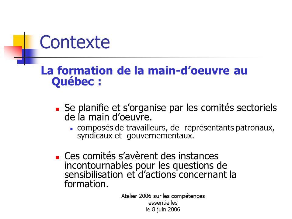 Atelier 2006 sur les compétences essentielles le 8 juin 2006 Contexte La formation de la main-doeuvre au Québec : Se planifie et sorganise par les com