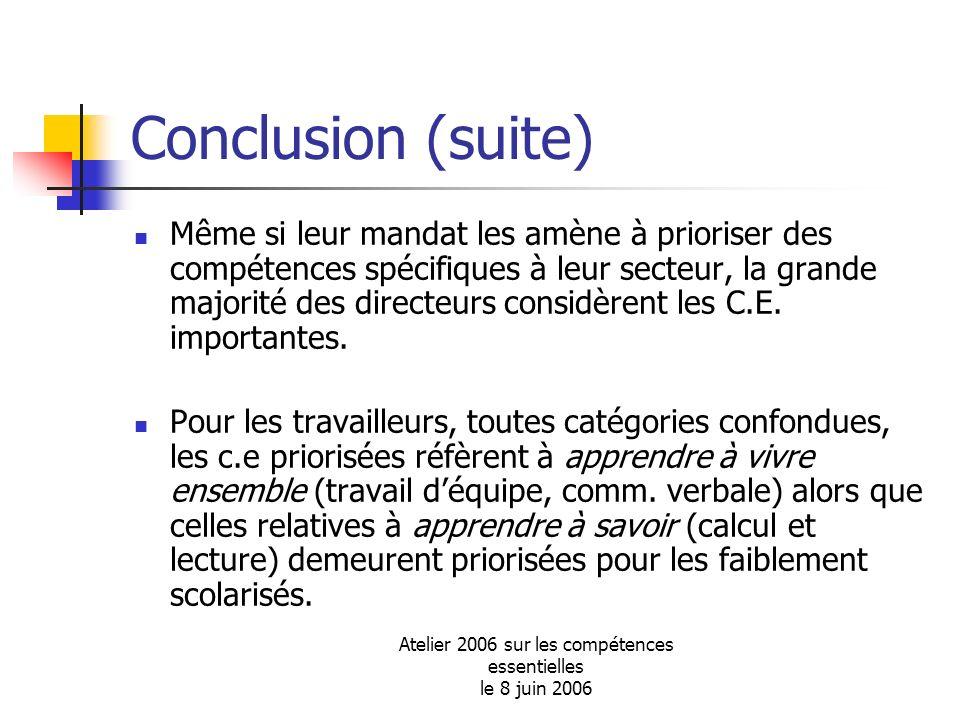 Atelier 2006 sur les compétences essentielles le 8 juin 2006 Conclusion (suite) Même si leur mandat les amène à prioriser des compétences spécifiques