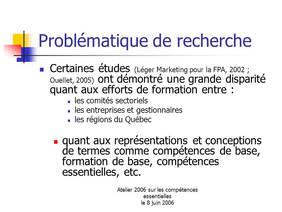 Atelier 2006 sur les compétences essentielles le 8 juin 2006 Problématique de recherche Certaines études (Léger Marketing pour la FPA, 2002 ; Ouellet,
