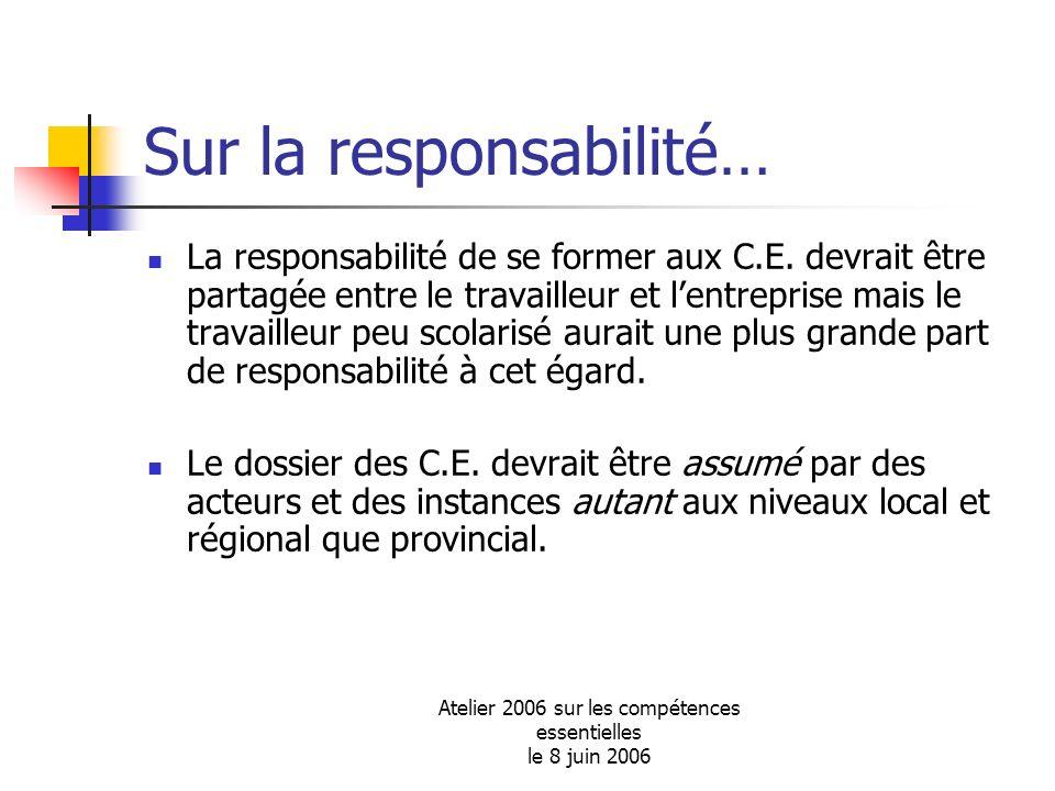 Atelier 2006 sur les compétences essentielles le 8 juin 2006 Sur la responsabilité… La responsabilité de se former aux C.E. devrait être partagée entr