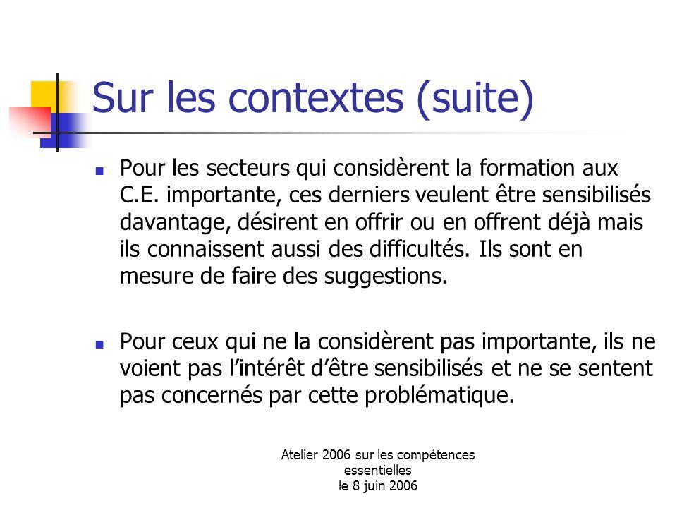 Atelier 2006 sur les compétences essentielles le 8 juin 2006 Sur les contextes (suite) Pour les secteurs qui considèrent la formation aux C.E. importa