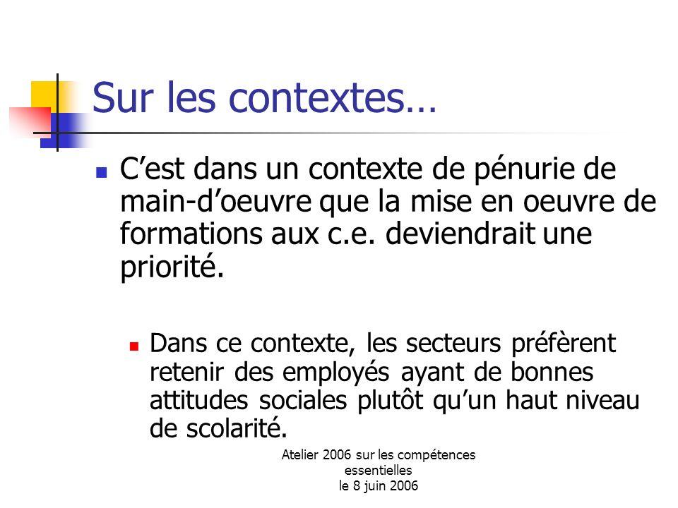 Atelier 2006 sur les compétences essentielles le 8 juin 2006 Sur les contextes… Cest dans un contexte de pénurie de main-doeuvre que la mise en oeuvre