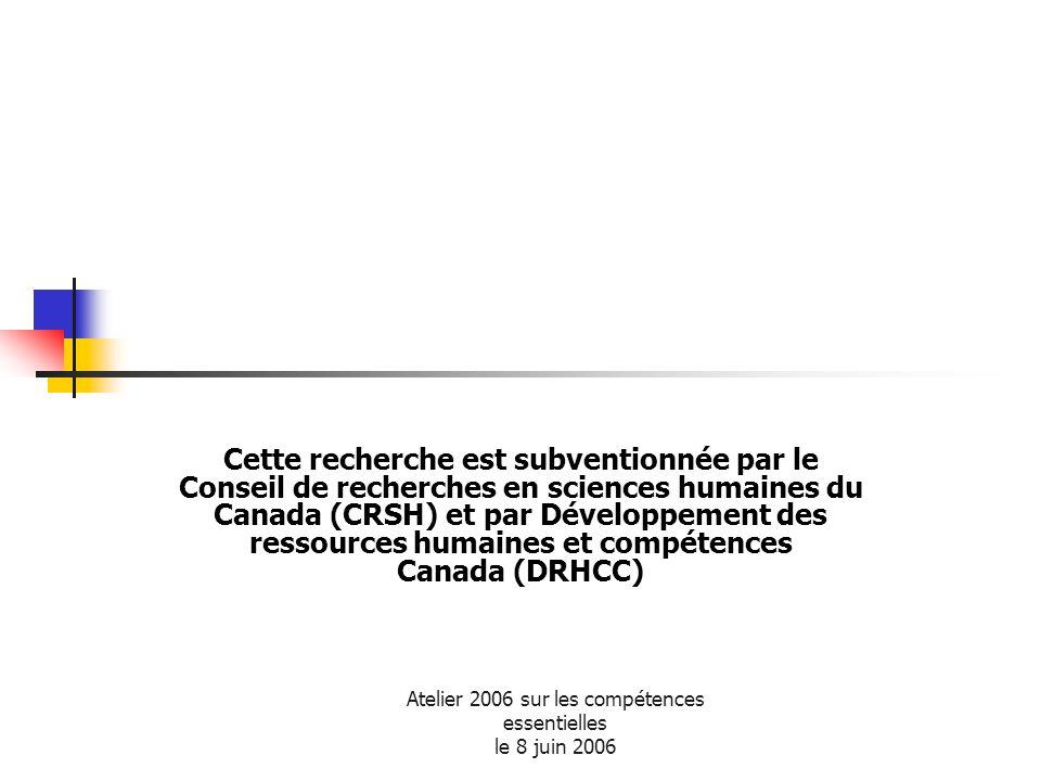 Atelier 2006 sur les compétences essentielles le 8 juin 2006 Cette recherche est subventionnée par le Conseil de recherches en sciences humaines du Ca