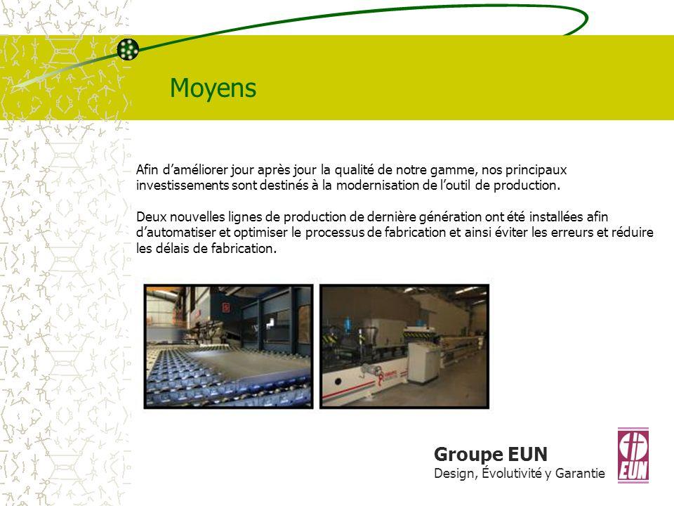 Groupe EUN Design, Évolutivité y Garantie Moyens Afin daméliorer jour après jour la qualité de notre gamme, nos principaux investissements sont destinés à la modernisation de loutil de production.