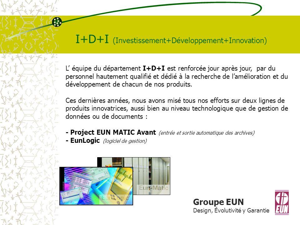 Groupe EUN Design, Évolutivité y Garantie I+D+I (Investissement+Développement+Innovation) L équipe du département I+D+I est renforcée jour après jour, par du personnel hautement qualifié et dédié à la recherche de lamélioration et du développement de chacun de nos produits.