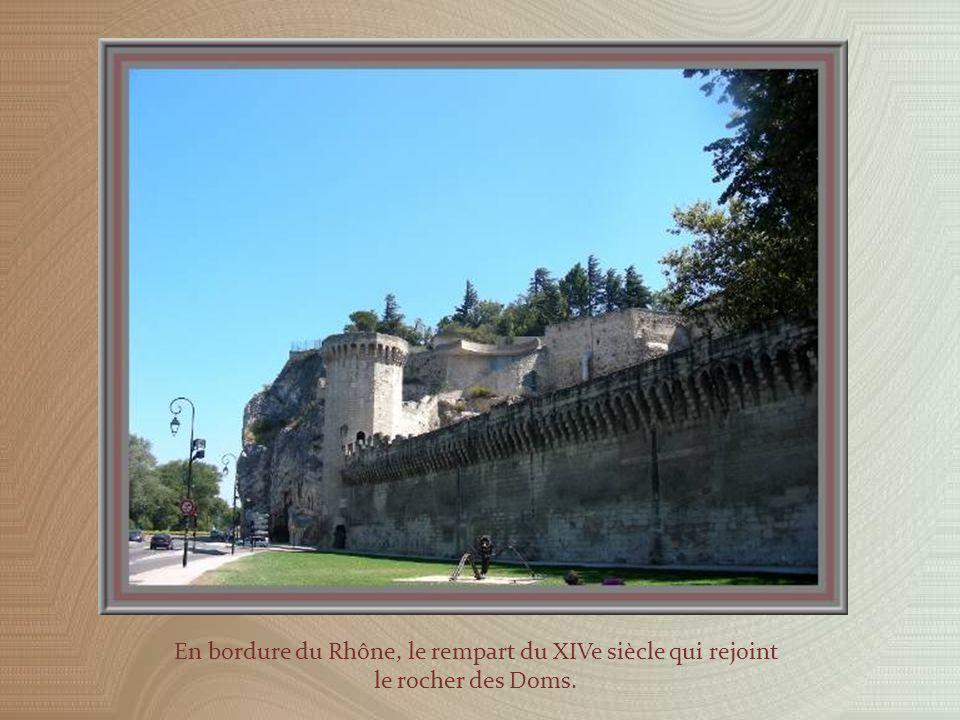 En bordure du Rhône, le rempart du XIVe siècle qui rejoint le rocher des Doms.