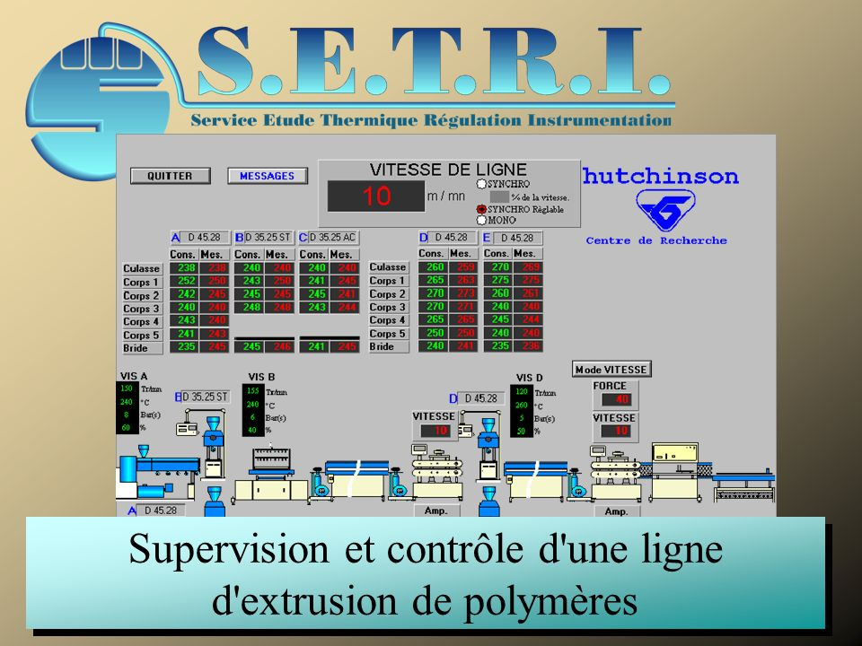 Supervision et contrôle d une ligne d extrusion de polymères