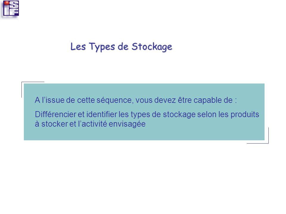 A lissue de cette séquence, vous devez être capable de : Différencier et identifier les types de stockage selon les produits à stocker et lactivité en