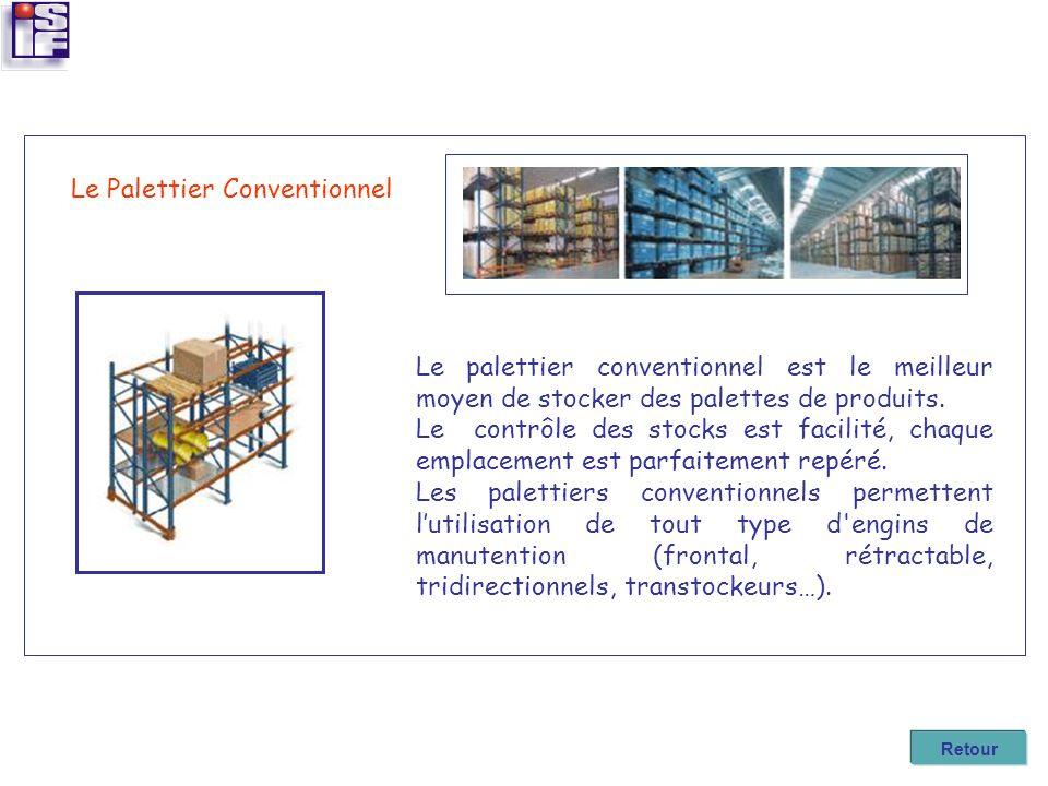 Le Palettier Conventionnel Le palettier conventionnel est le meilleur moyen de stocker des palettes de produits. Le contrôle des stocks est facilité,