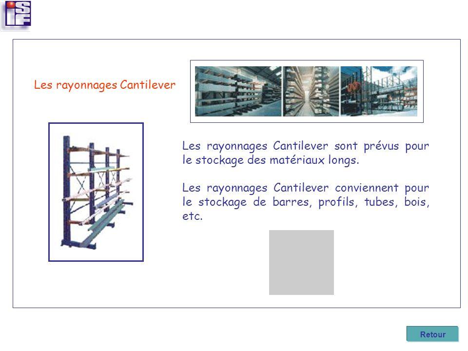 Les rayonnages Cantilever sont prévus pour le stockage des matériaux longs. Les rayonnages Cantilever conviennent pour le stockage de barres, profils,