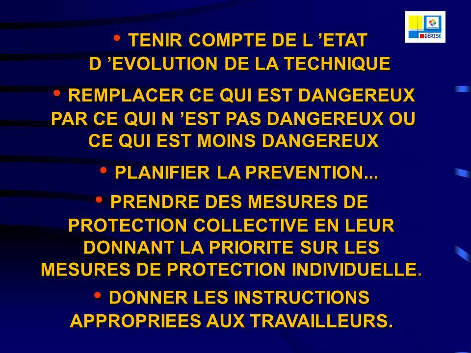 LArticle L4121 du Code du Travail (ex-L.230-2 avant la recodification) a fixé les 9 principes généraux de Prévention suivants qui constituent le socle