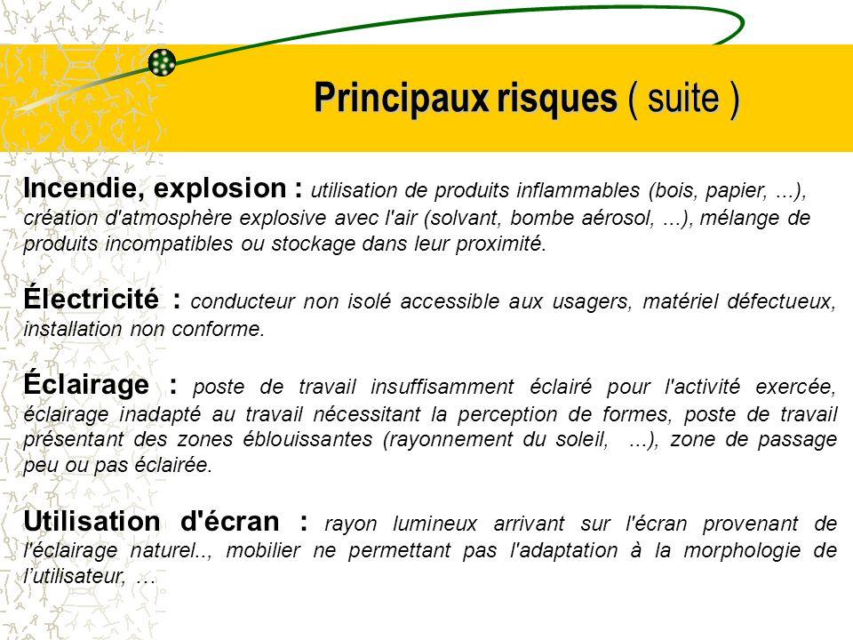 Principaux risques ( suite ) Incendie, explosion : utilisation de produits inflammables (bois, papier,...), création d'atmosphère explosive avec l'air