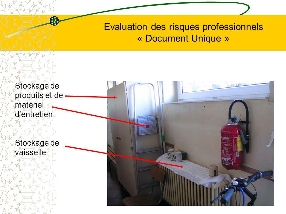 Evaluation des risques professionnels « Document Unique » Stockage de produits et de matériel dentretien Stockage de vaisselle