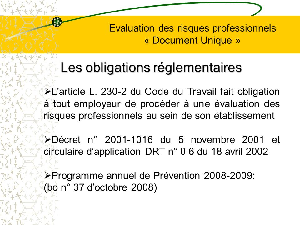 Evaluation des risques professionnels « Document Unique » L article L.