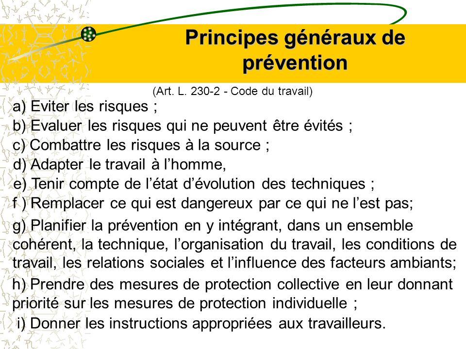 Principes généraux de prévention a) Eviter les risques ; b) Evaluer les risques qui ne peuvent être évités ; c) Combattre les risques à la source ; d)