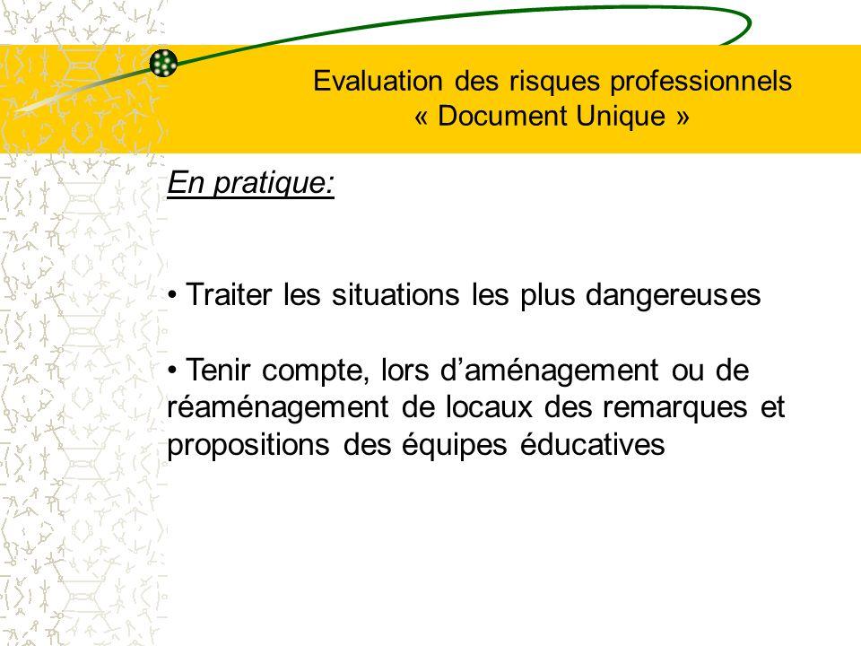 Evaluation des risques professionnels « Document Unique » En pratique: Traiter les situations les plus dangereuses Tenir compte, lors daménagement ou