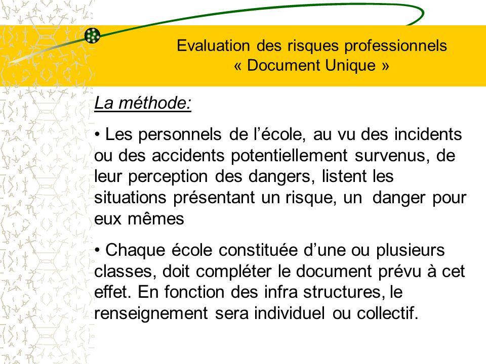 Evaluation des risques professionnels « Document Unique » La méthode: Les personnels de lécole, au vu des incidents ou des accidents potentiellement s