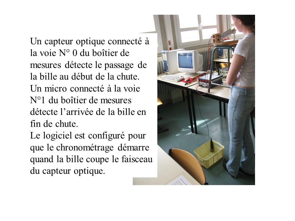 Un capteur optique connecté à la voie N° 0 du boîtier de mesures détecte le passage de la bille au début de la chute. Un micro connecté à la voie N°1