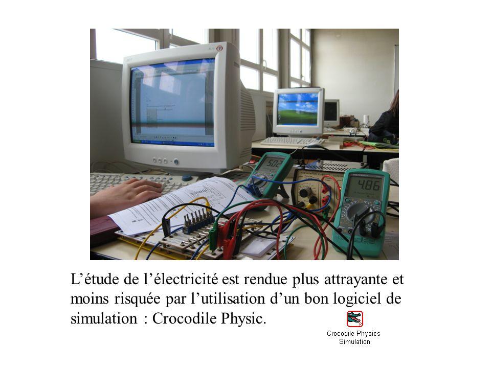 Létude de lélectricité est rendue plus attrayante et moins risquée par lutilisation dun bon logiciel de simulation : Crocodile Physic.