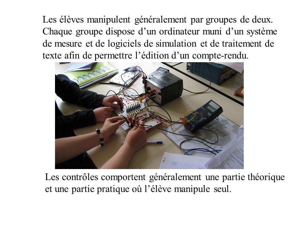 Les élèves manipulent généralement par groupes de deux. Chaque groupe dispose dun ordinateur muni dun système de mesure et de logiciels de simulation