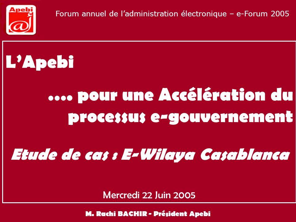 Implication du secteur privé NTIC dans le développement de la politique e-gov nationale Forum annuel de ladministration électronique – e-Forum 2005 S ommaire 1.E-gov : les concepts, le périmètre et lintérêt pour le Maroc 2.LApebi : pour une implication du secteur privé dans le développement de la politique e-gov nationale 3.LApebi, pour une accélération du processus e-gouvernement Etude de cas : E-Wilaya Casablanca 4.Les conditions pré-requises et les conditions de maintien de la valeur 5.Les apports du projet E-Wilaya 6.Les enseignements à ce jour 7.Recommandations de lApebi dans le cadre dun déploiement