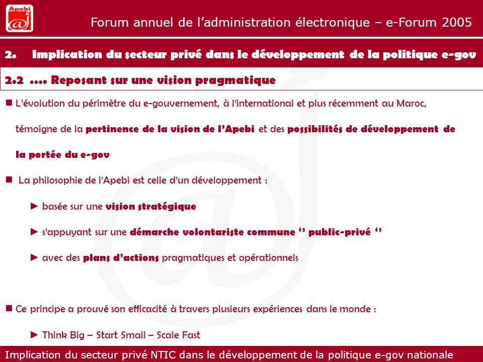 Implication du secteur privé NTIC dans le développement de la politique e-gov nationale Forum annuel de ladministration électronique – e-Forum 2005 2.