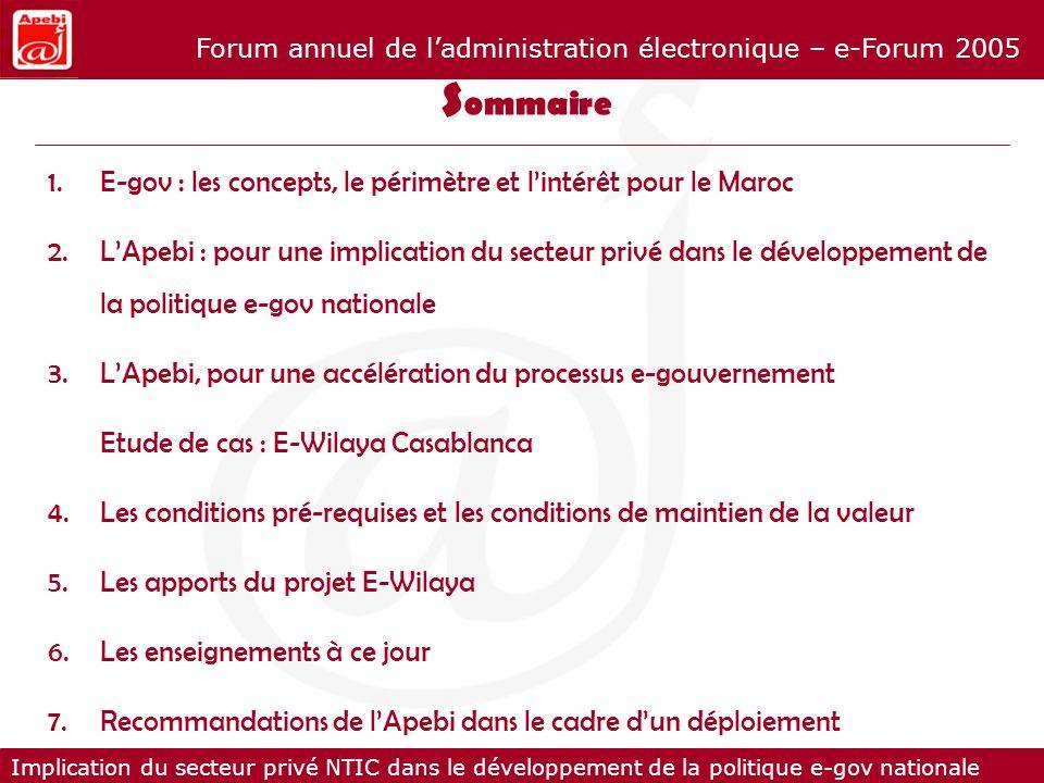 Implication du secteur privé NTIC dans le développement de la politique e-gov nationale Forum annuel de ladministration électronique – e-Forum 2005 E-gov : les concepts, le périmètre et 1.E-gov : les concepts, le périmètre et lintérêt pour le Maroc