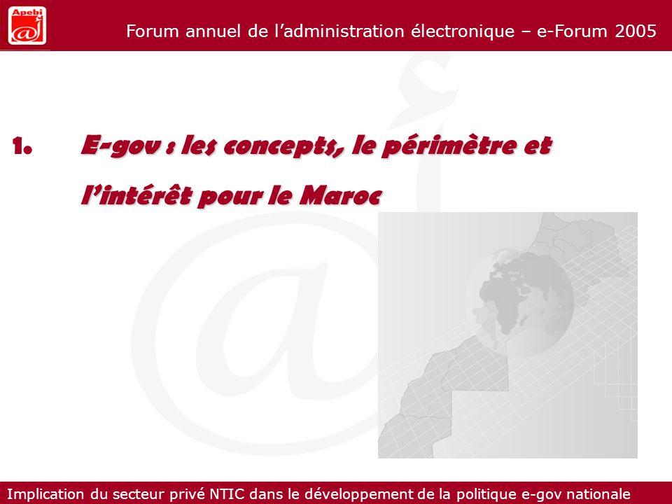 Implication du secteur privé NTIC dans le développement de la politique e-gov nationale Forum annuel de ladministration électronique – e-Forum 2005 E-