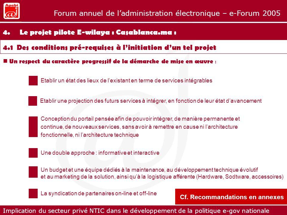 Implication du secteur privé NTIC dans le développement de la politique e-gov nationale Forum annuel de ladministration électronique – e-Forum 2005 4.