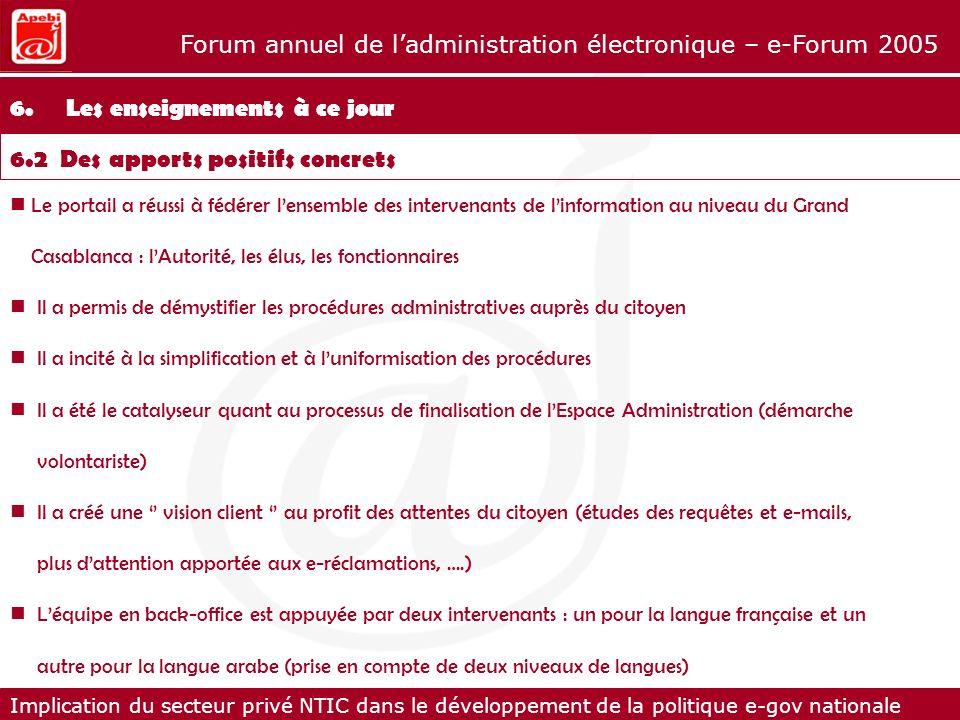 Implication du secteur privé NTIC dans le développement de la politique e-gov nationale Forum annuel de ladministration électronique – e-Forum 2005 Le