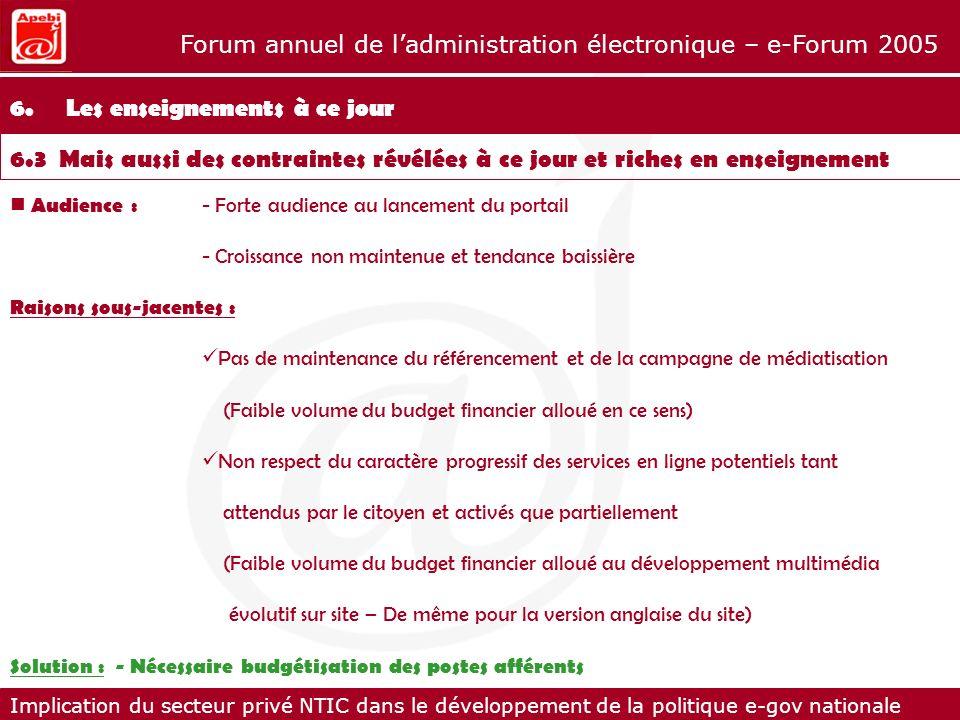 Implication du secteur privé NTIC dans le développement de la politique e-gov nationale Forum annuel de ladministration électronique – e-Forum 2005 Au