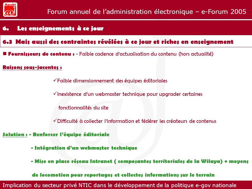 Implication du secteur privé NTIC dans le développement de la politique e-gov nationale Forum annuel de ladministration électronique – e-Forum 2005 Fo