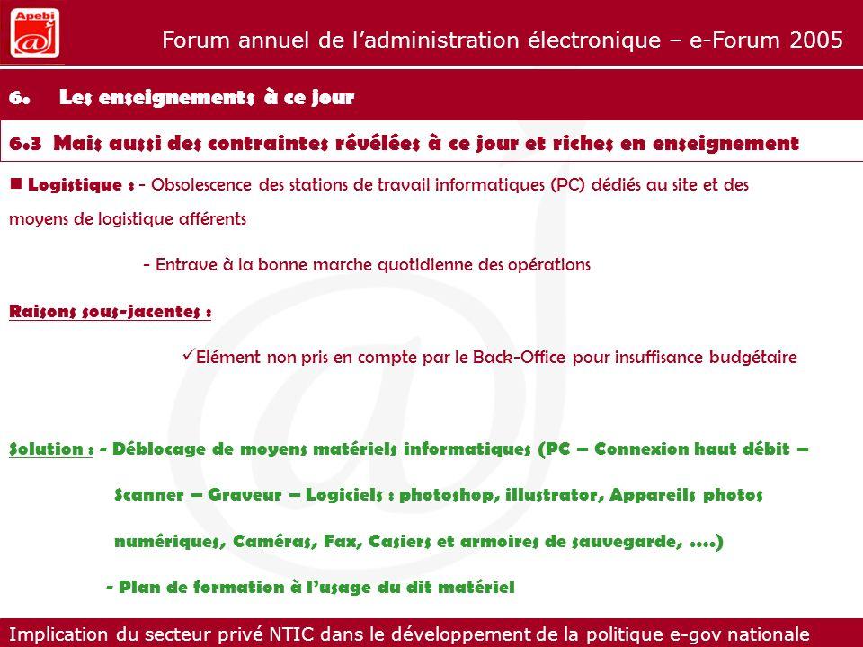 Implication du secteur privé NTIC dans le développement de la politique e-gov nationale Forum annuel de ladministration électronique – e-Forum 2005 Lo