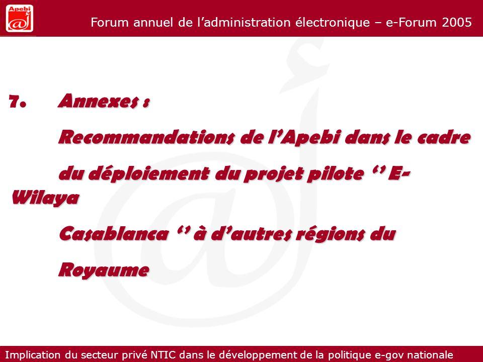 Implication du secteur privé NTIC dans le développement de la politique e-gov nationale Forum annuel de ladministration électronique – e-Forum 2005 An