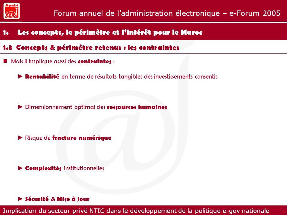 Implication du secteur privé NTIC dans le développement de la politique e-gov nationale Forum annuel de ladministration électronique – e-Forum 2005 7.8 La promotion de la solution Une fois le site conçu et mis en ligne, il sagira de capitaliser sur lexistence du projet e-wilaya sur Internet.