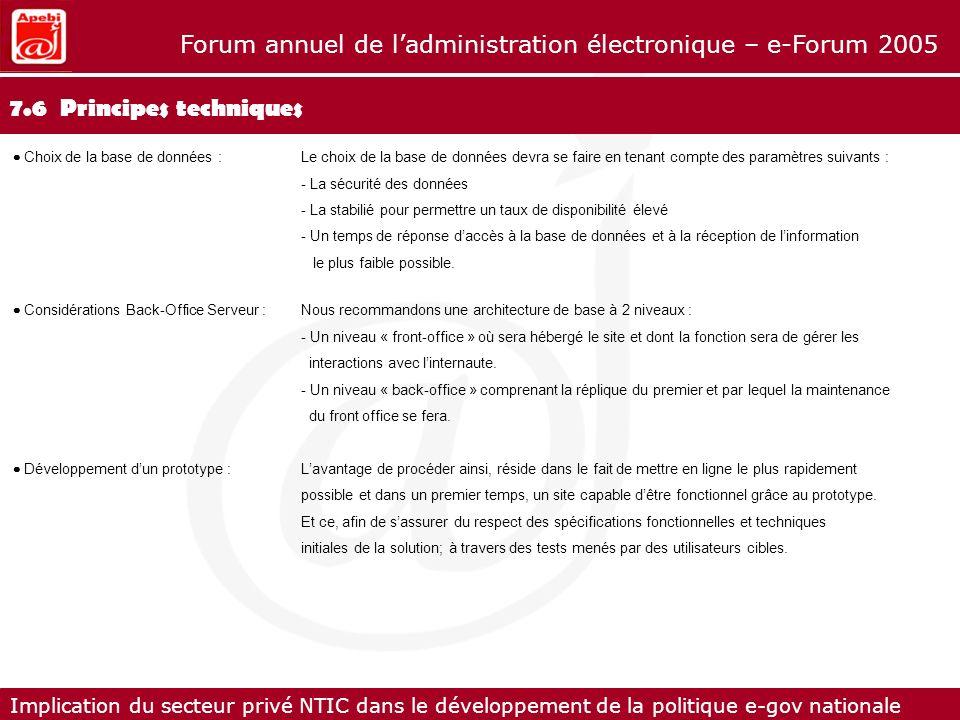 Implication du secteur privé NTIC dans le développement de la politique e-gov nationale Forum annuel de ladministration électronique – e-Forum 2005 7.