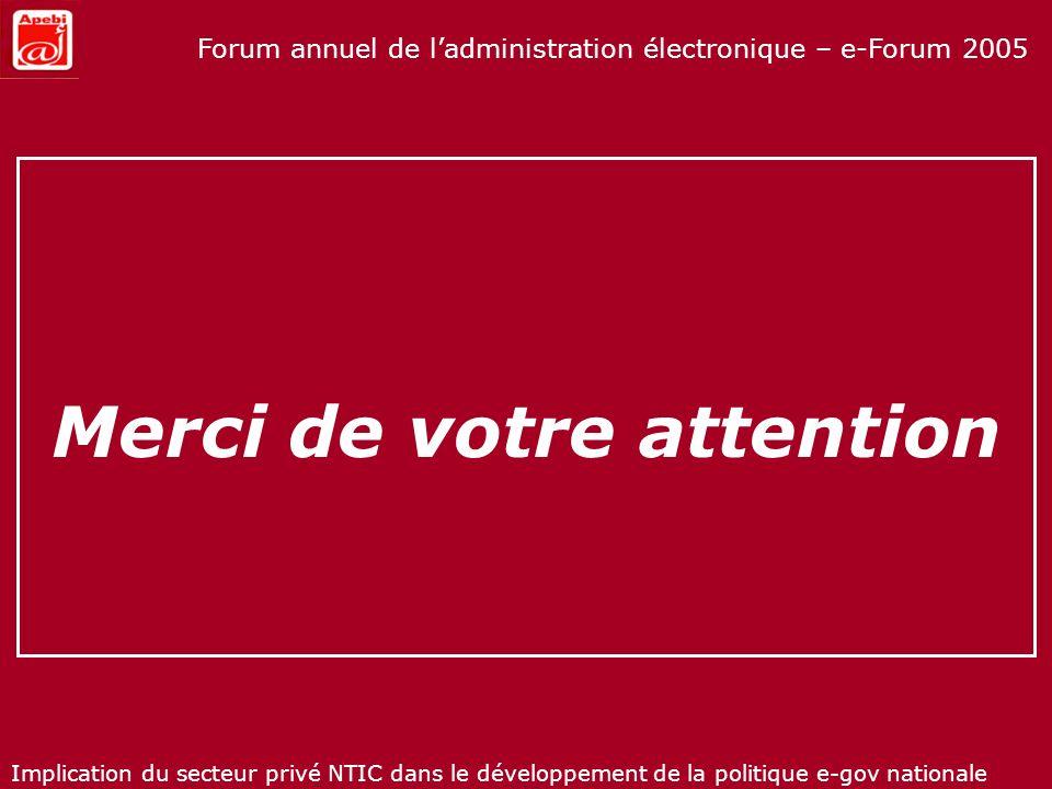 Implication du secteur privé NTIC dans le développement de la politique e-gov nationale Forum annuel de ladministration électronique – e-Forum 2005 Me